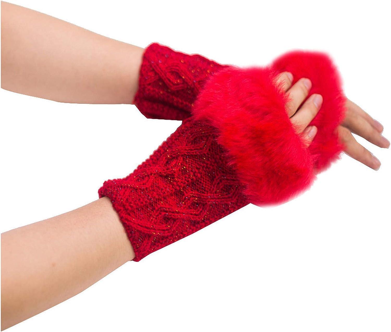 Women Girl Hand Warmers, snowflake Fingerless Gloves, Cable Knit Warm Winter Sleeve, Premium Soft Warm Mitten