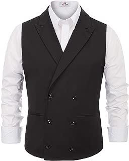 PAUL JONES Men's Stylish Suit Vest Sleeveless Lapel Collar Double-Breasted