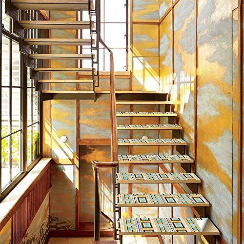 Azulejos de cocina, pegatinas de escaleras con textura de estilo tribal africano, pegatinas de huellas, pegatinas de escalones, pegatinas de suelo antideslizantes