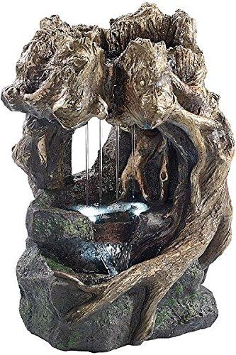 Fontaine d'ambiance avec LED et pompe - Grotte de racines