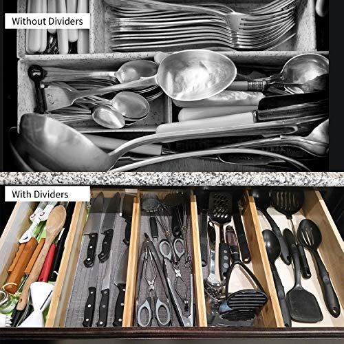 Utoplike 4 pcs Bamboo Kitchen Drawer Dividers(12.25-17.25IN),Adjustable Drawer Organizers,Spring Loaded,Works in Kitchen,Dresser,Bathroom,Bedroom,Baby Drawer,Desk