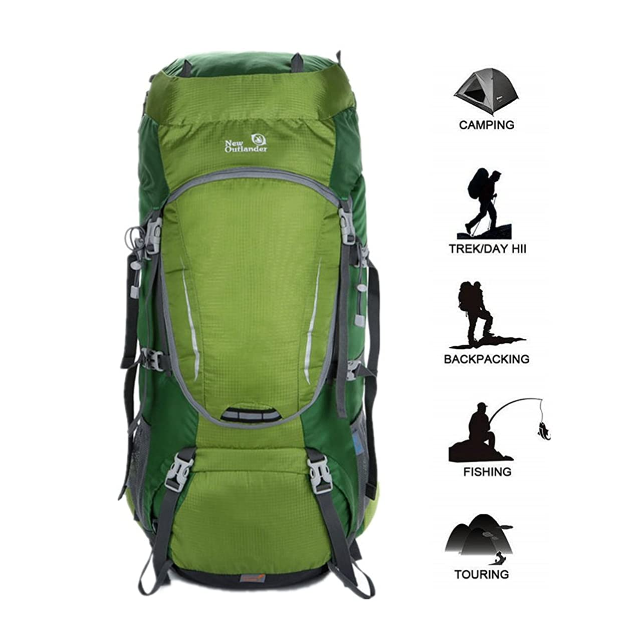 UNISTRENGH 60L Internal Frame Hiking Backpack Nylon Water-Resistant Trekking Bag with Rain Cover for Outdoor Climbing Camping Caving Travel Mountaineering
