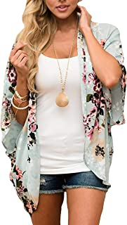 Barlver Womens Floral Kimono Cardigan Shawl Half Sleeve Chiffon Loose Bikini Beachwear Cover up