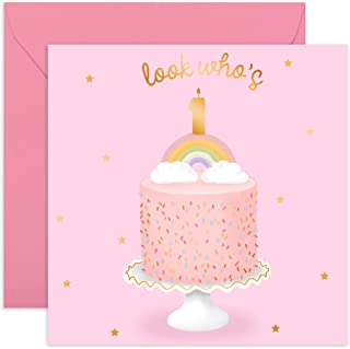 Central 23- Cute Girl Birthday Card - 1st Birthday Card - 'Look Who's One' - Sweet Birthday Cards for Her - Ideal Birthday...