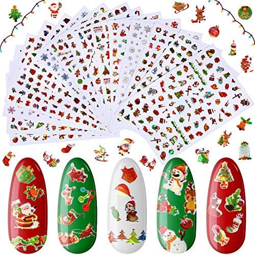 16 Hojas Pegatinas de Uñas de Navidad Pegatinas Autoadhesivas de Uñas 3D Calcomanías de Uñas Coloridas de Navidad Pegatinas de Uñas Láser de Árbol Copo Nieve Santa para Decoración Uñas Navidad Niña