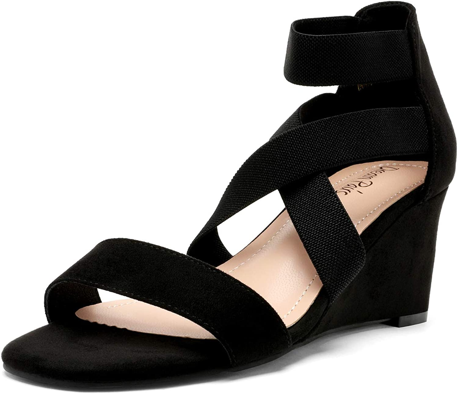 DREAM PAIRS Women's Elastic Ankle Wedge Manufacturer regenerated Ranking TOP14 product Sandals Low Strap