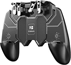 Mobile Game Controller with 4 Triggers Compatiple for PUBG/Fotnite [6 Finger Operation], L1R1 L2R2 Grip Gamepad Joystick Remote Shoot Aim Key for iOS Android Phone