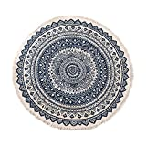 Deike Mild Alfombra redonda con diseño de mandala, estilo bohemio, algodón, lavable, para salón o dormitorio, diámetro 92 cm (negro + azul)