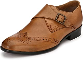 Afrojack Men's Leather Single Monk Strap Handmade Shoes
