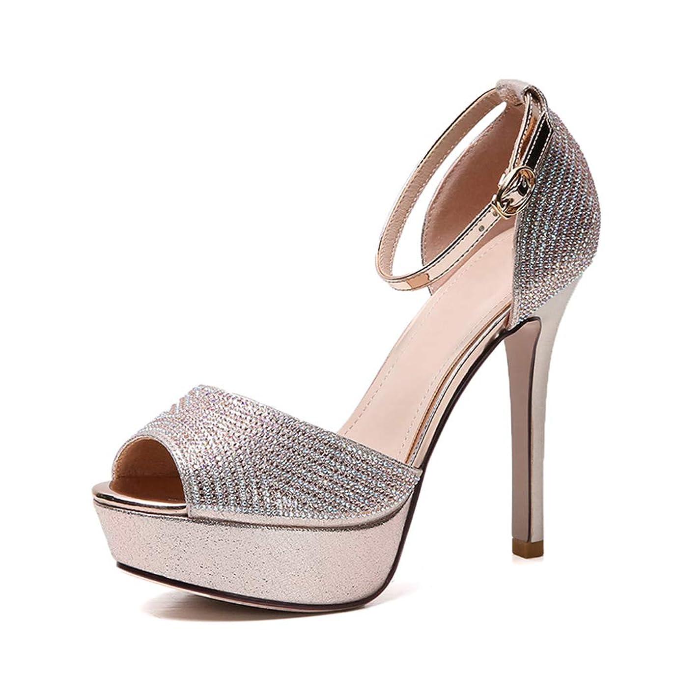 フランクワースリー解く難しい女性のハイヒールのサンダル新しい夏のスティレットシューズピープトウ/ラインストーンナイトクラブセクシーな靴結婚式のパーティー & イブニングゴールドシルバー,Gold,39