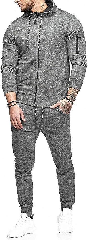 SPE969 Men's 2Pcs Jogger Set,Full-Zip Autumn Patchwork Zipper Sweatshirt Top Pants Sets Sports Suit Tracksuit