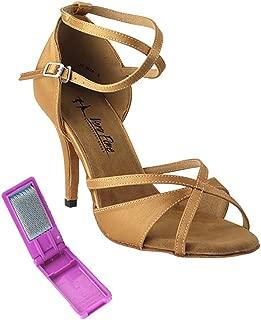 Very Fine Ladies Latin, Rhythm, Salsa, Wedding Dance Shoes - Classic Series Stiletto Heels Edition 2829LEDSS - 3.5-inch Heel and Foldable Brush Bundle