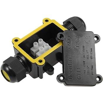 1 pieza Caja de conexiones el/éctricas impermeable para exteriores 2 v/ías conector de cable impermeable