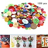 1000-1200 Pieces Assorted Colors and Sizes Resin Buttons,2 and 4 Holes Round Resin Buttons for Arts, Crafts, Sewing and Decoration
