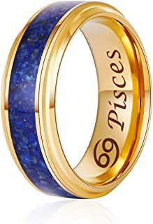 TosowebOnline Mens 8mm Brushed Finish with Meteorite Imitation Inlay Black /& Rose Gold IP Domed Comfort Fit Tungsten Carbide Anniversary Ring