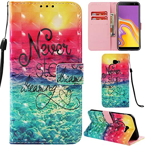 Ooboom Samsung Galaxy J4 Core Hülle 3D Flip PU Leder Schutzhülle Stand Handy Tasche Brieftasche Wallet Hülle Cover für Samsung Galaxy J4 Core - Never Stop Dreaming