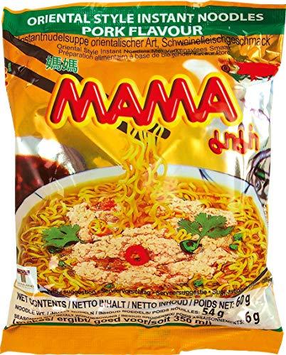 MAMA Instantnudeln mit Schweinefleischgeschmack – Instantnudelsuppe orientalischer Art – Authentisch thailändisch kochen – 30 x 60 g