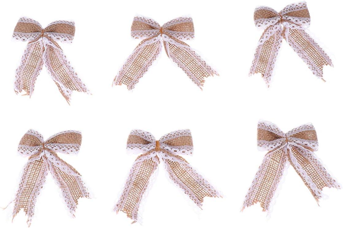 Healifty 6PCS Burlap Lace Bowknot Bows DIY Embellishmen Award Jute New item Set
