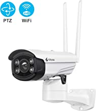 Kittyhok Wireless Security Camera Outdoor, 1080P FHD WiFi PTZ Camera Surveillance Cameras with Floodlight and Siren Alarm, 100ft Color Night Vision, 2-Way Audio, Motion Detection, Remote Access