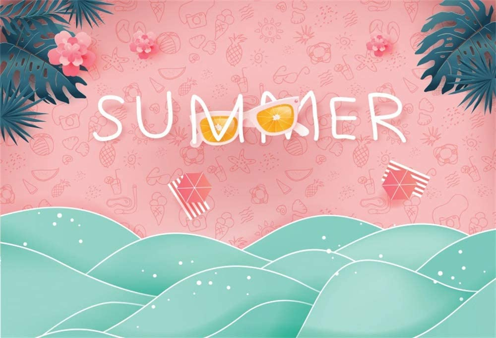 Attention brand AOFOTO 9x6ft Pink Summer Party Cool Max 46% OFF Tropical Leaves Sea Backdrop