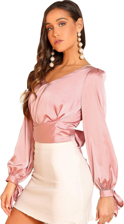 SheIn Women's Elegant V Neck Self Tie Knot Long Sleeve Satin Blouse Shirt Top