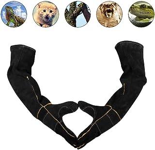 ペットの取り扱い用手袋、猫の犬および園芸作業のための強化された革抗咬傷安全な耐久性のある通気性のキャンバス裏地手袋 lucky (色 : ブラック, サイズ さいず : Long 60cm)
