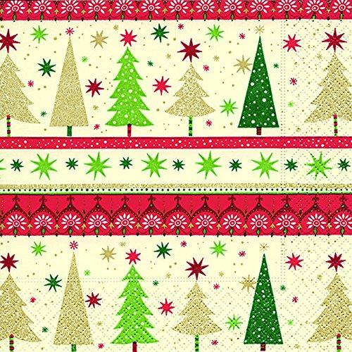 20 Servietten Weihnachtsbaum Schneeflocken Wald Bäume 25x25 cm