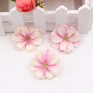 Artificial Flower 50pcs Mini Silk Plum Blossom Wedding Decoration DIY Wreath Clip Clip Accessories Handmade Craft Flower Head (Light Purple)