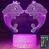 3D delfín noche luz USB Touch Decor mesa escritorio ilusión óptica Lámparas 7 colores cambiantes lámpara de mesa LED Navidad hogar amor cumpleaños niños decoración regalo juguete