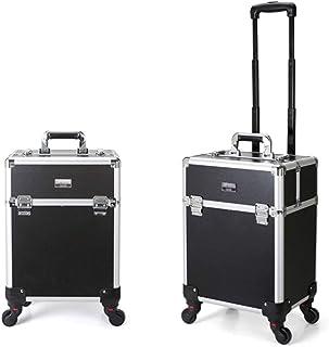 Professional Nail Polish Organizer Professional Cosmetic Organizer Makeup Traveling case Trolley Cart Trunk,Black (Size : ...