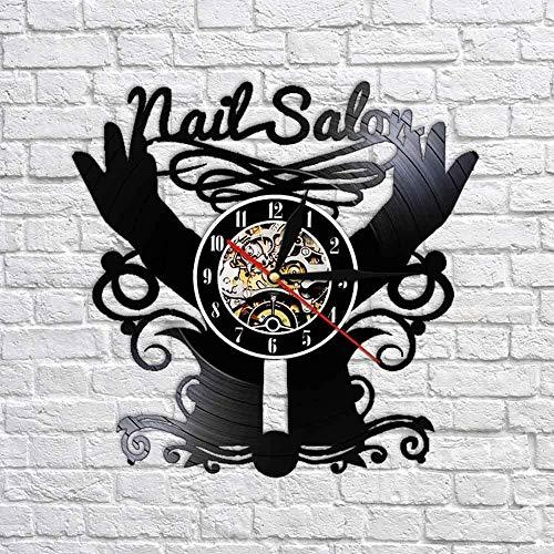 TIANZly Nail Salon Shop Wall Art Décor Horloge Polonais Manucure Pédicure Entreprise Vinyle Horloge Murale Décoration Murale pour Nail Shop Salon