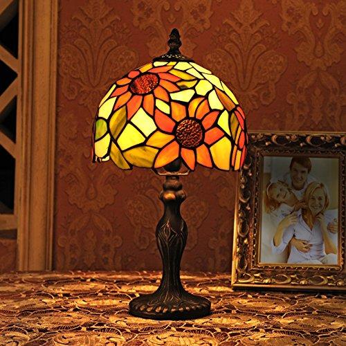 Vitral Pastoral de 8 Pulgadas Lámpara de Mesa Lámpara de Dormitorio Lámpara de Noche Modelo A