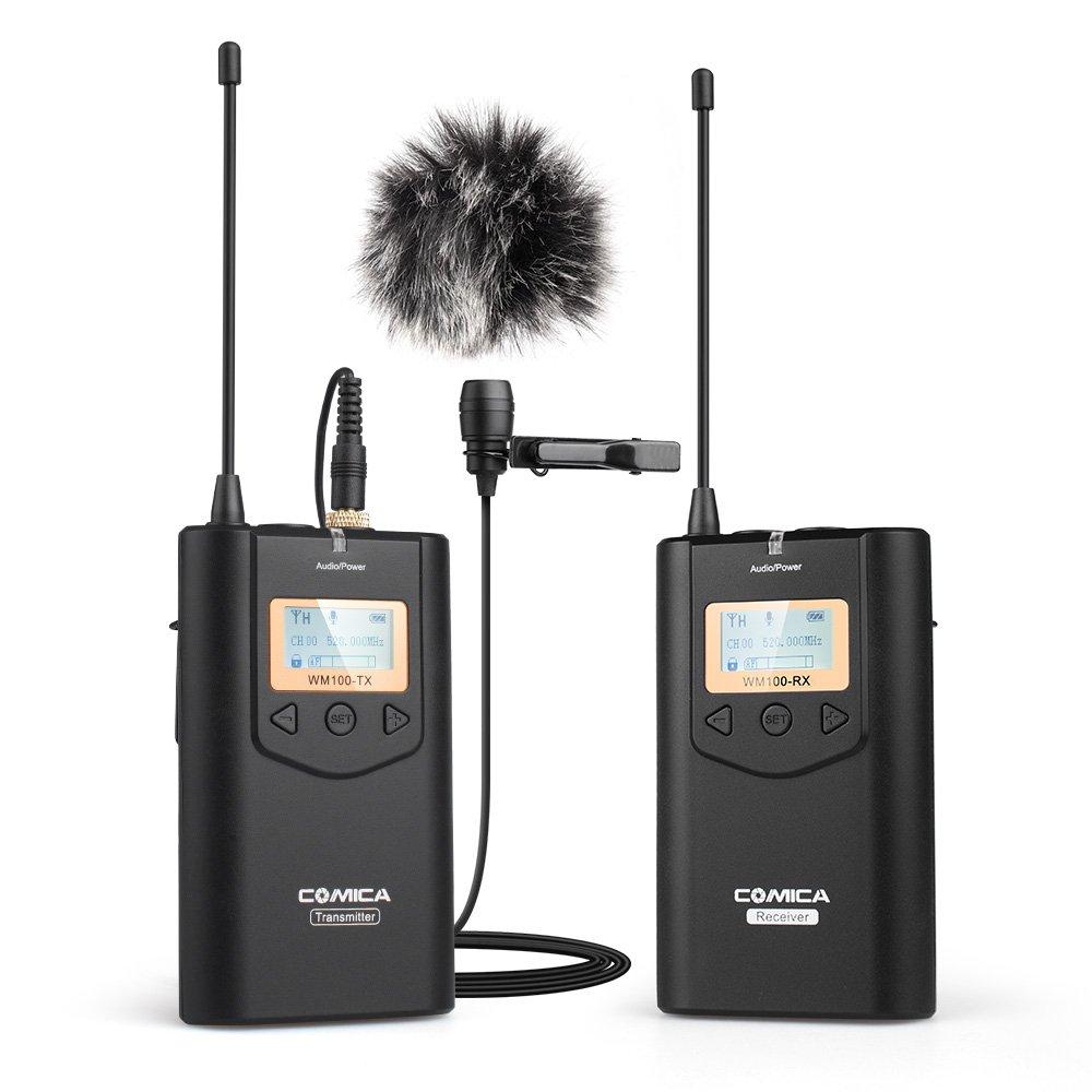 COMICA CVM-WM100ワイヤレスラベンダーマイク、UHF 48チャンネル*ラペルマイクシステム、Canon、Nikon Panasonic、DSLR、カムコーダー、スマートフォン用100m長距離伝送
