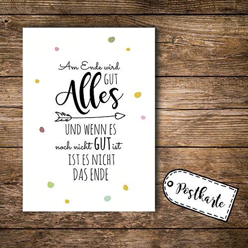 ilka parey wandtattoo-welt® A6 Postkarte Print mit Spruch Zitat Am Ende Wird Alles gut.pk090