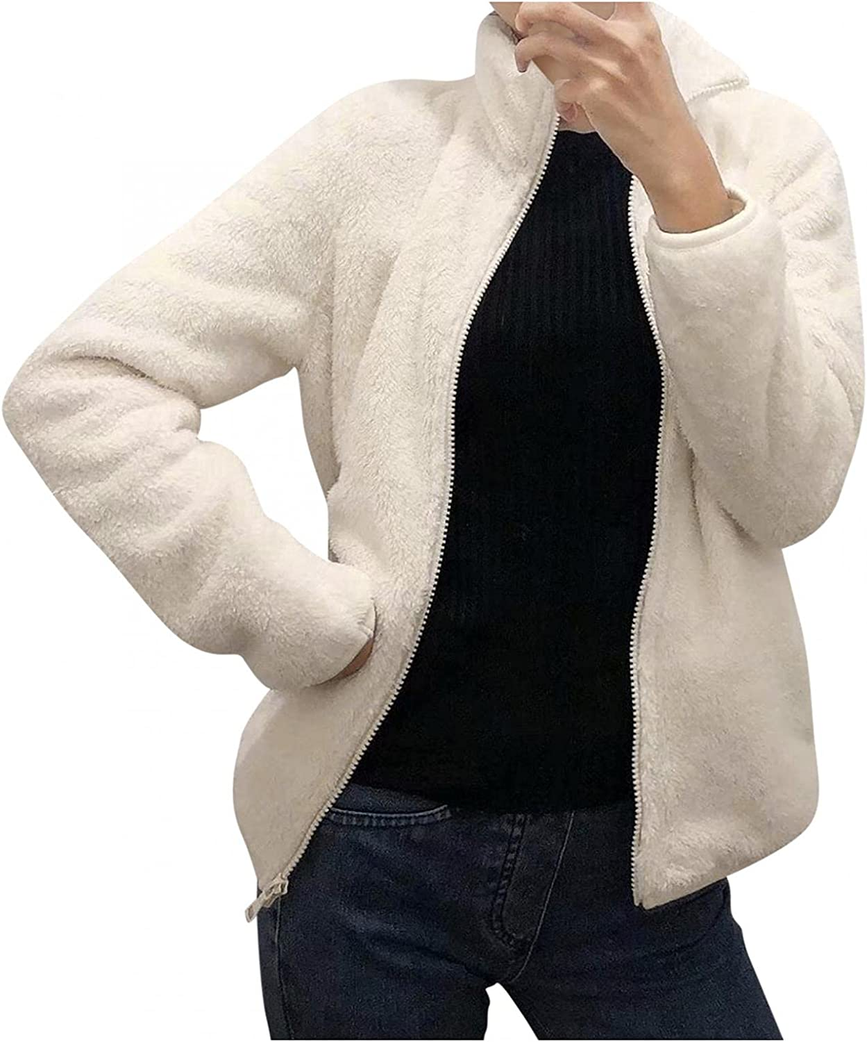 Changeshopping Womens Winter Pluff Coats Cozy Soft Long Sleeve Warm Jacket with Pockets