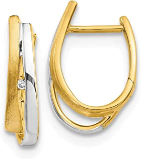 14k Two Tone Yellow Gold Diamond Hinged Hoop Earrings Ear Hoops Set Fine Jewelry Gifts For Women For Her
