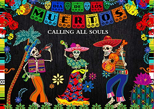LTLYH 8x6ft Day of The Dead Backdrop for Mexican Fiesta Sugar Skull Photography Background Dia DE Los Muertos Dress-up Supplies Fiesta Banner Photo Booth Shoot 112