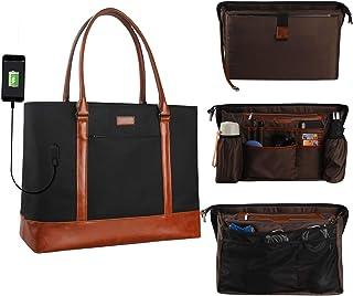 MONSTINA Laptop Tote Bag,15.6 Inch Laptop Bag for Women Teacher,Large Laptop Organizer Bag with USB Port,Waterproof Briefcase Shoulder Bag for Work Travel(Black)