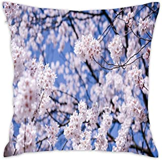 Short Plush Soft Cotton Square Throw Pillow Cover Set Cushion Case Cover for Sofa Bedroom Car 18x18 Inch (Japan Matsumoto Nagano Prefecture Cherry Flowers Bloom)