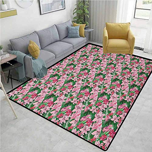 Great Deal! Jungle Music Area Rug Kilim, Lush Growth of the Exotic Hawaiian Island Blossoms in Pink ...