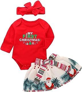 3e2daee3e74ae URMAGIC Bébés Filles Mon 1er Noël Costume Barboteuse à Manches Longues  +Jupe Bowknot+Bandeau