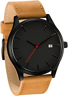Clearance! Charberry Mens Watch Popular Low-Key Minimalist Connotation Leather Quartz Watch