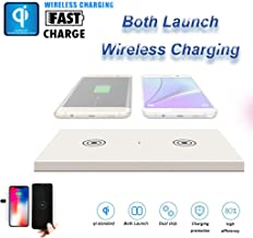 Websad_ Qi 5W Double Wireless Charger Station Devices Pad Desktop for iPhone X for Galaxy