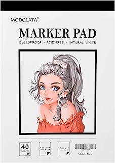 MODOLATA Marker Paper Sketchbook, Bleedproof Art Marker Pad, (8.27 X 11.69) Inch, White, 40 Sheets