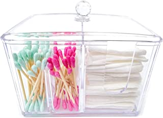 BBDOU Cotton Pad Holder, Cotton Swab Storage, Clear Acrylic Q-tip Cosmetic Organizer Makeup Cotton Ball Holder
