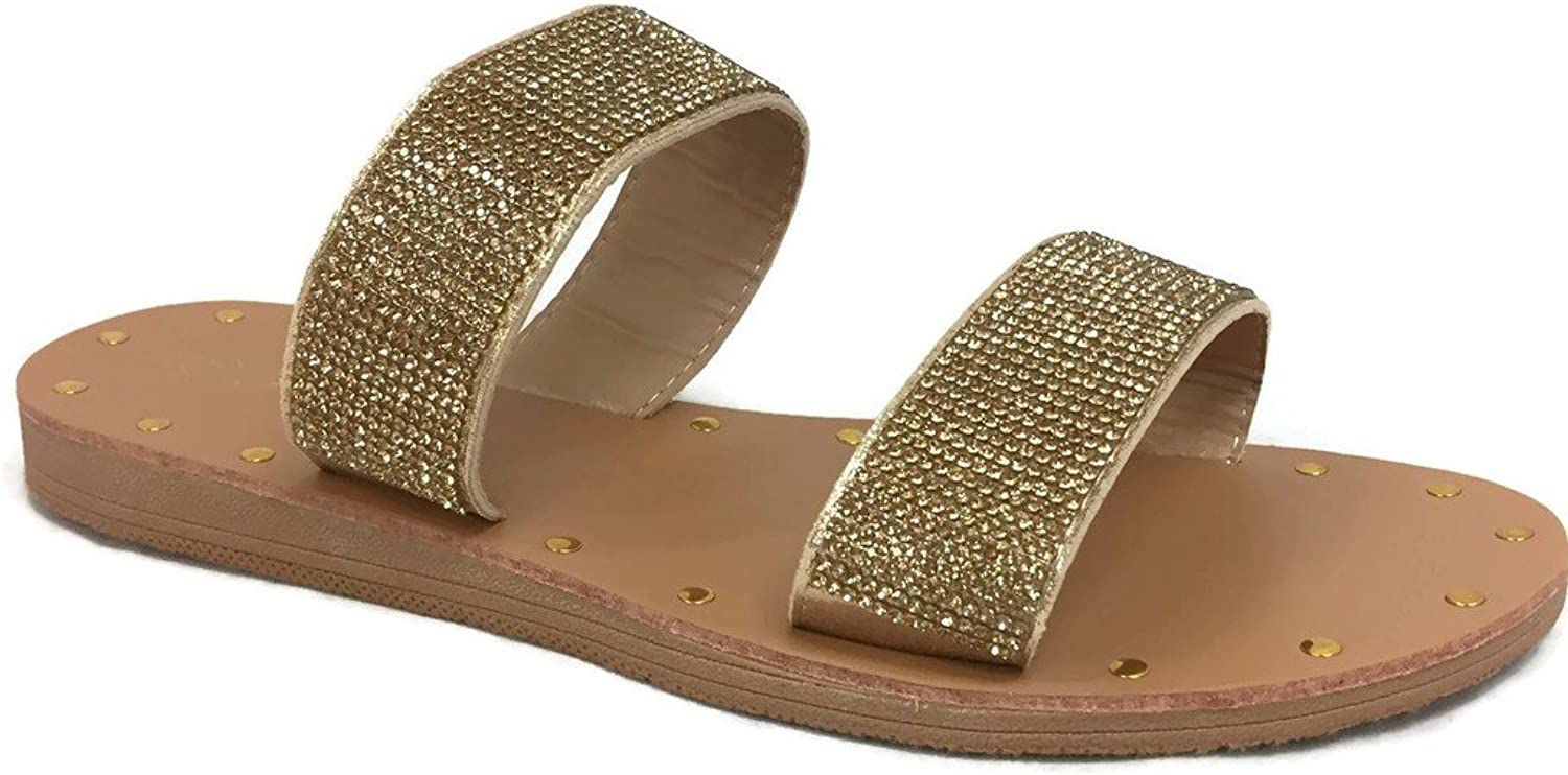 The Collection Annie Womens Double 2 Strap Sandal Low Flat Heel Slip On Slide
