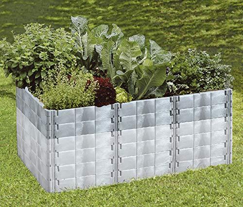 Juwel Aufbausatz zu Hochbeet Profiline Größe 2 (20 Bausteine in basalt, Gemüsebeet Füllinhalt wird bis 500 l erweitert, Größe 190x121 cm, Höhe 26 cm, Pflanzenbeet mit Stabilisierungs-Set) 20595