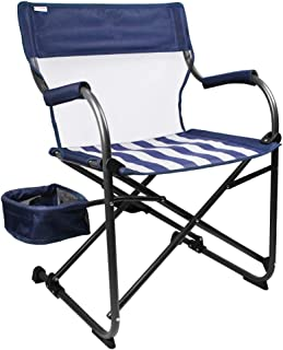 Zenree Camping Folding Chair Heavy Duty, New Age Portable Director's Chairs Outdoor with Little Motion, Breathable Mesh Wide Sports Seat with Unique Versatile Side Basket, for Traveling & Hiking, Blue