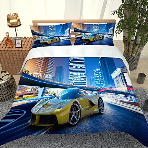 PKTMK Bedding Duvet Cover with 2 Pillowcases Printed Cityscape yellow sports car Quilt Cover Set with Zipper Closure Anti-allergic Bedding For Kids adult Double 200x200cm