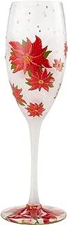 Enesco 6004438 Designs by Lolita Poinsettias in Snow Prosecco Glass Champagne Flute, 8 Ounce, Multicolor